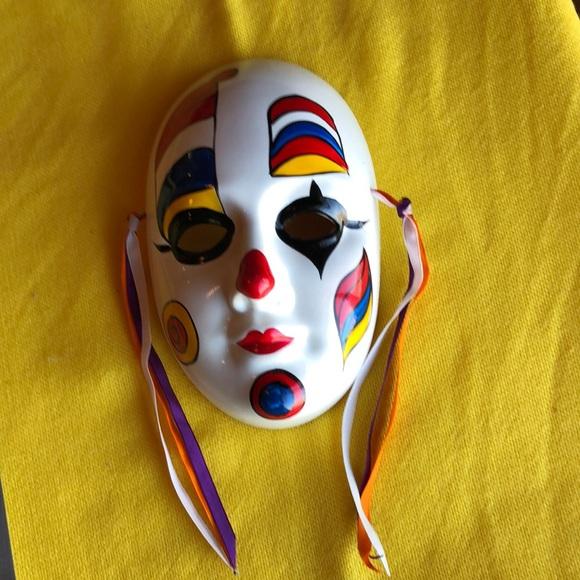 Vintage clown mask wall hanging